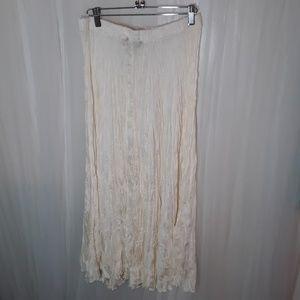 Vtg Cream Colored Silk Broomstick Skirt. 1980s/90s